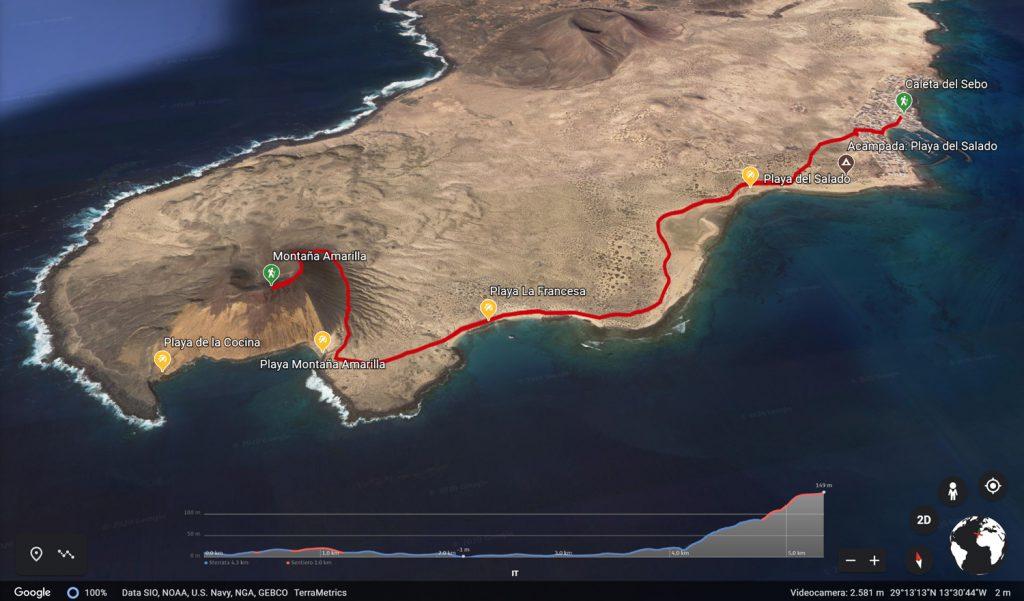 Sentiero da Caleta del Sebo a Playa la Cocina e Montana Amarilla