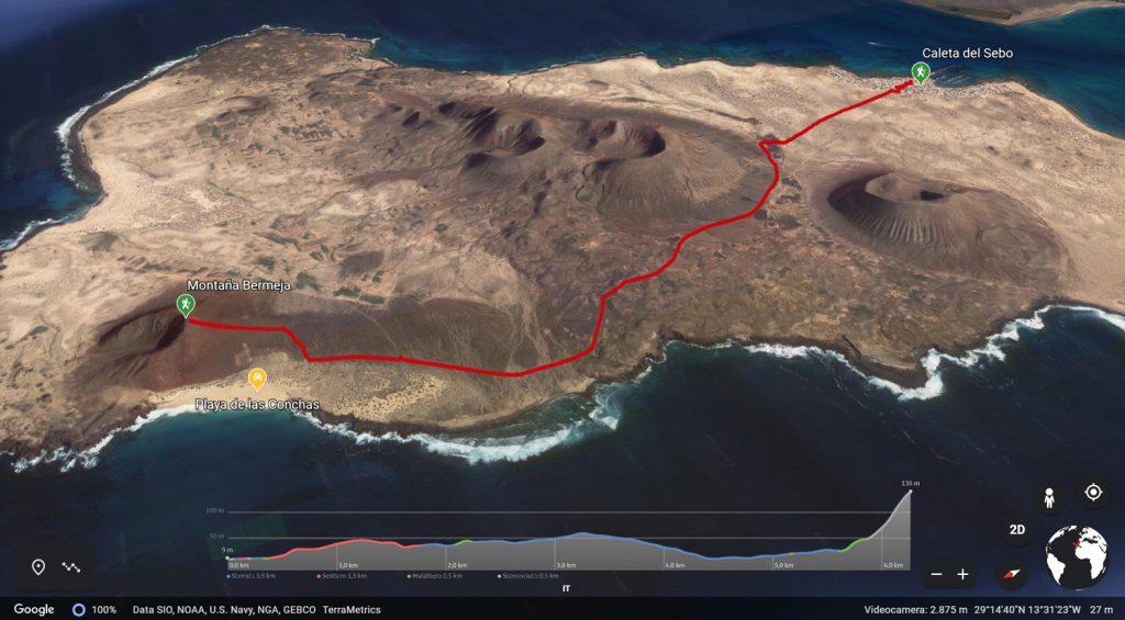 Sentiero che porta da Caleta de Sebo a spiaggia Las Conchas